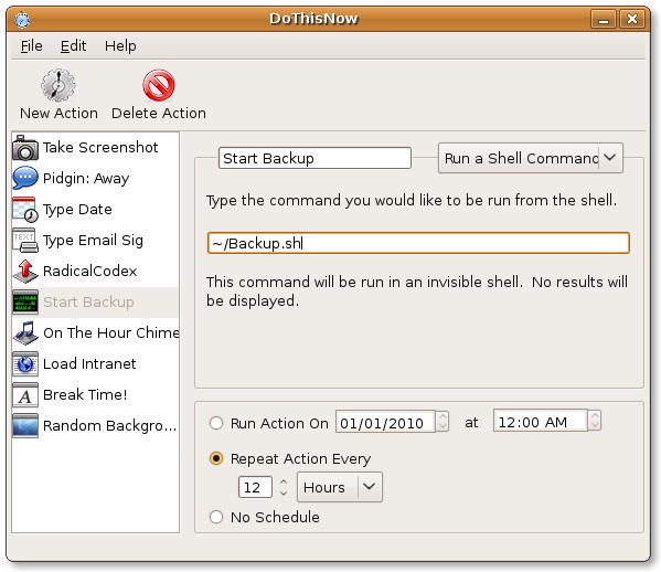 Automate tasks in Gnome with Dothisnow