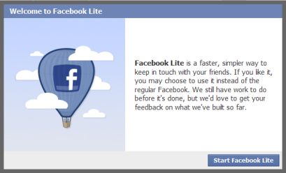Facebook Lite, a lightweight version of the app for Android