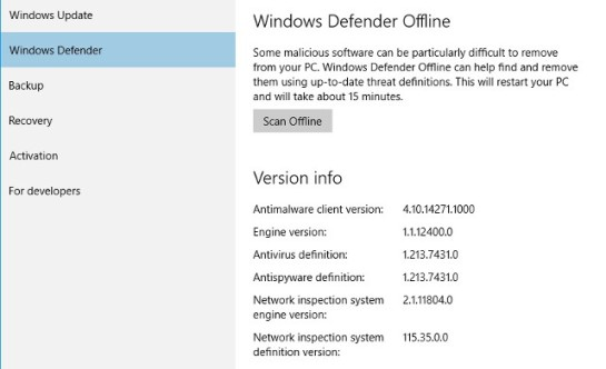 Windows Defender Offline, Windows 10 integrates new security options