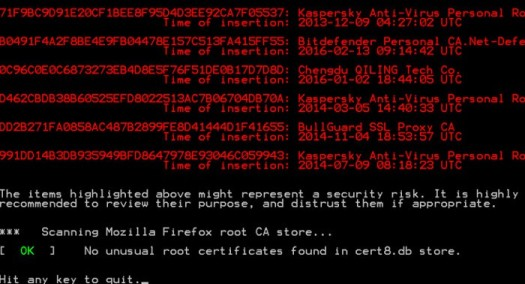 RCC, a utility for detecting infected certificates